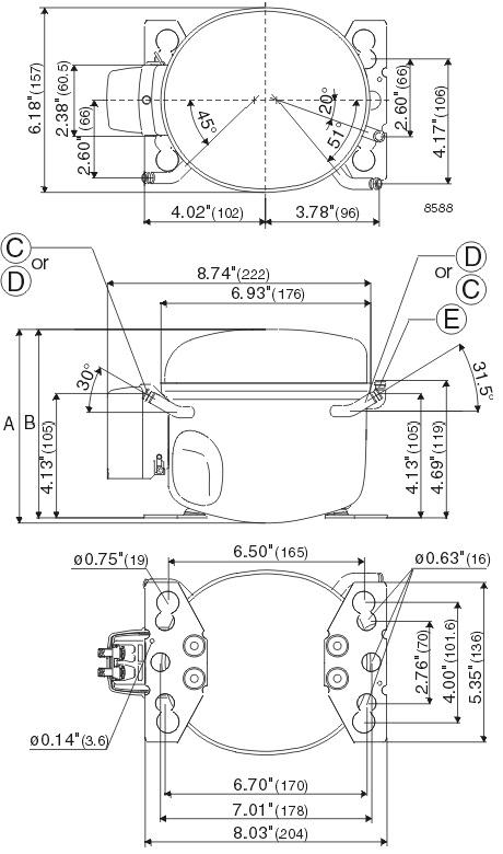 danfoss compressors tl shema 3 - Компрессор Danfoss TL4CL (R404A/R507, 220-240 В, 50 Гц)